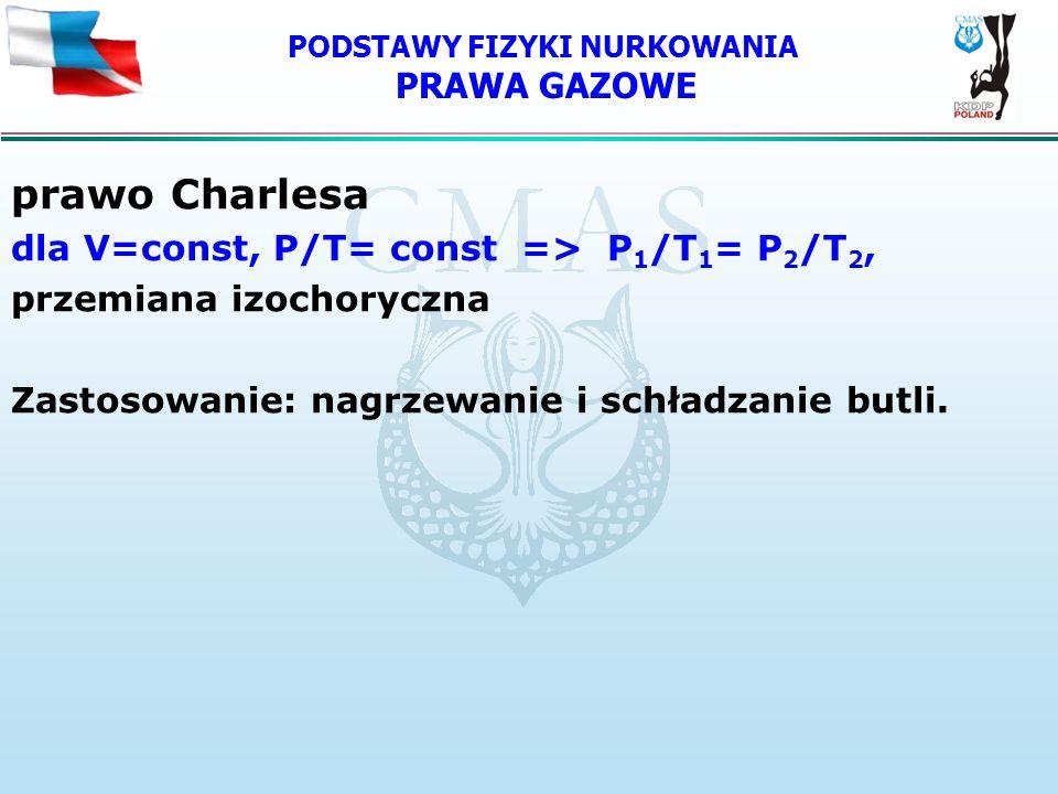 PODSTAWY FIZYKI NURKOWANIA PRAWA GAZOWE prawo Charlesa dla V=const, P/T= const => P 1 /T 1 = P 2 /T 2, przemiana izochoryczna Zastosowanie: nagrzewani