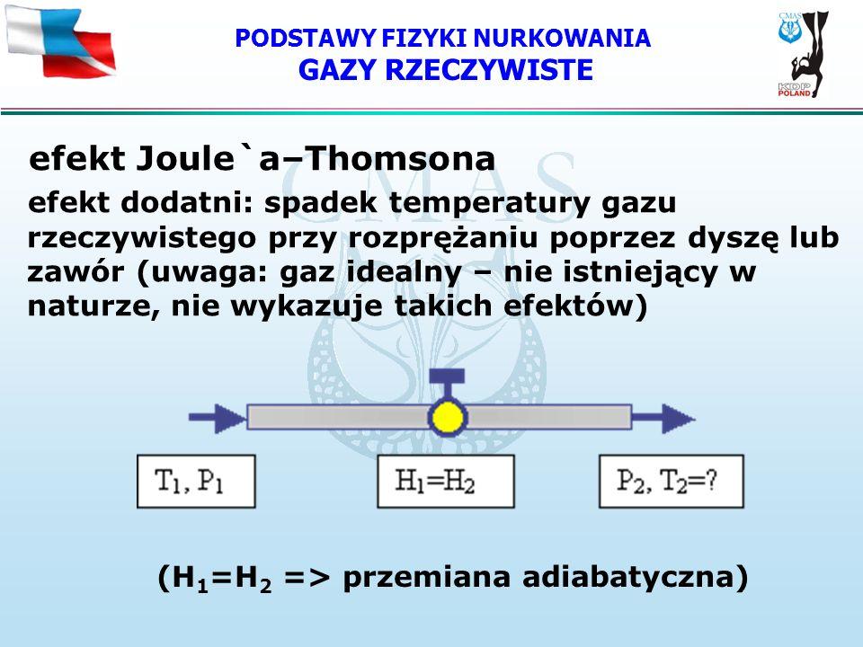 PODSTAWY FIZYKI NURKOWANIA GAZY RZECZYWISTE efekt Joule`a–Thomsona efekt dodatni: spadek temperatury gazu rzeczywistego przy rozprężaniu poprzez dyszę