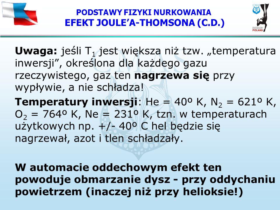 PODSTAWY FIZYKI NURKOWANIA EFEKT JOULEA-THOMSONA (C.D.) Uwaga: jeśli T 1 jest większa niż tzw. temperatura inwersji, określona dla każdego gazu rzeczy