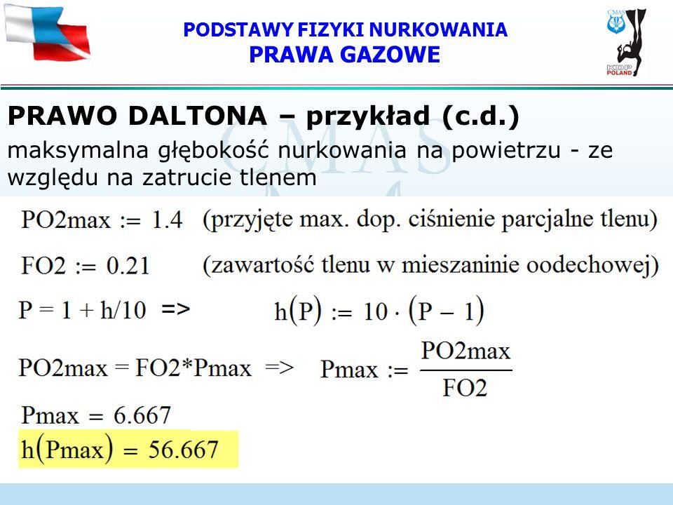 PODSTAWY FIZYKI NURKOWANIA PRAWA GAZOWE PRAWO DALTONA – przykład (c.d.) maksymalna głębokość nurkowania na powietrzu - ze względu na zatrucie tlenem