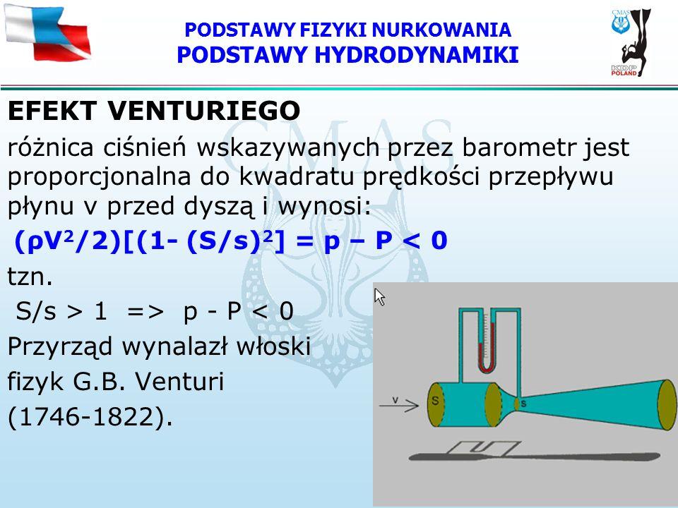 PODSTAWY FIZYKI NURKOWANIA PODSTAWY HYDRODYNAMIKI EFEKT VENTURIEGO różnica ciśnień wskazywanych przez barometr jest proporcjonalna do kwadratu prędkoś