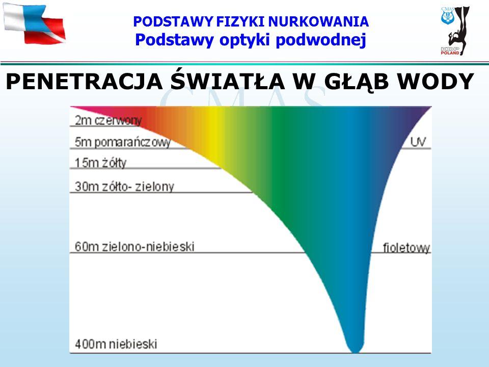 PODSTAWY FIZYKI NURKOWANIA Podstawy optyki podwodnej PENETRACJA ŚWIATŁA W GŁĄB WODY