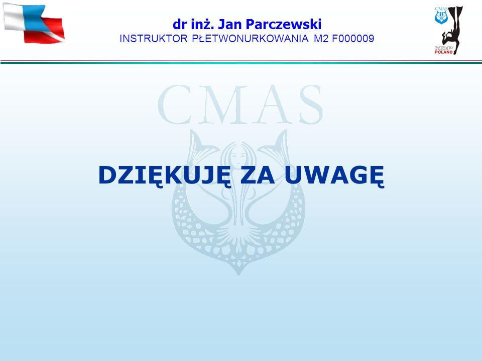 dr inż. Jan Parczewski INSTRUKTOR PŁETWONURKOWANIA M2 F000009 DZIĘKUJĘ ZA UWAGĘ