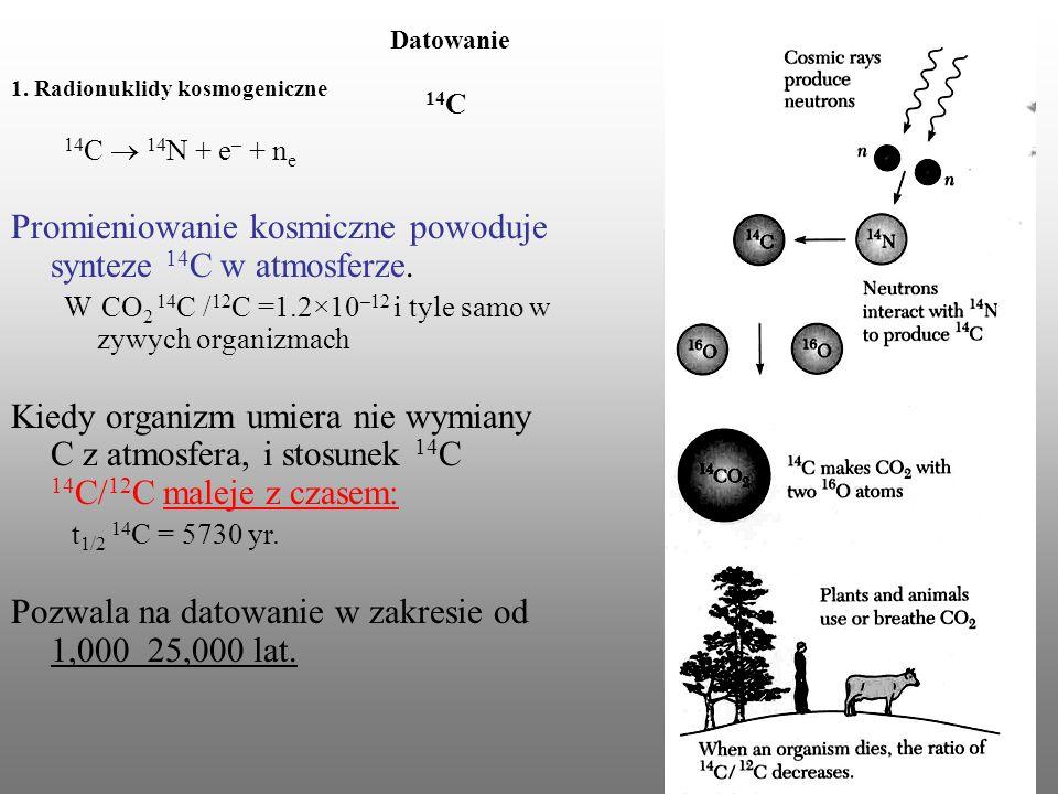 Datowanie 14 C 1. Radionuklidy kosmogeniczne 14 C 14 N + e – + n e Promieniowanie kosmiczne powoduje synteze 14 C w atmosferze. W CO 2 14 C / 12 C =1.