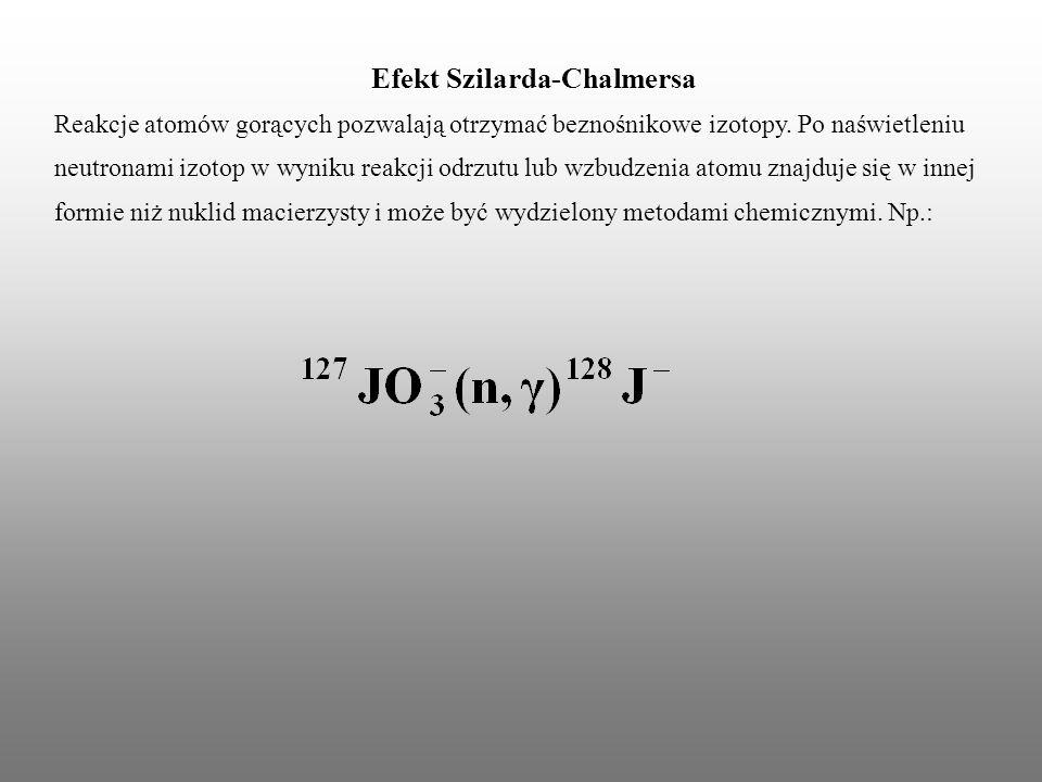 Efekt Szilarda-Chalmersa Reakcje atomów gorących pozwalają otrzymać beznośnikowe izotopy. Po naświetleniu neutronami izotop w wyniku reakcji odrzutu l