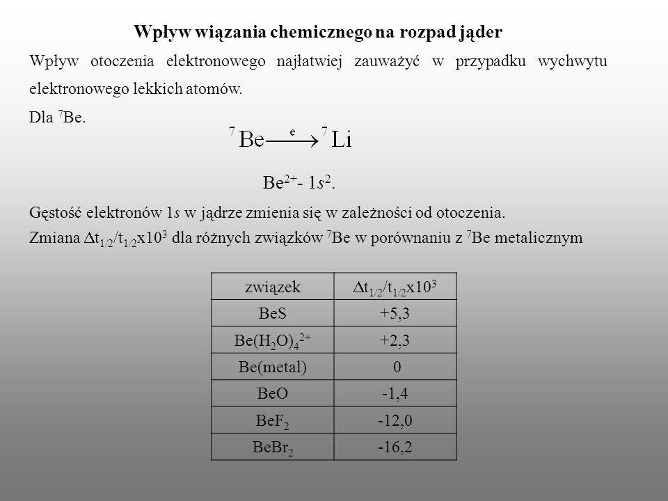 Wpływ wiązania chemicznego na rozpad jąder Wpływ otoczenia elektronowego najłatwiej zauważyć w przypadku wychwytu elektronowego lekkich atomów. Dla 7