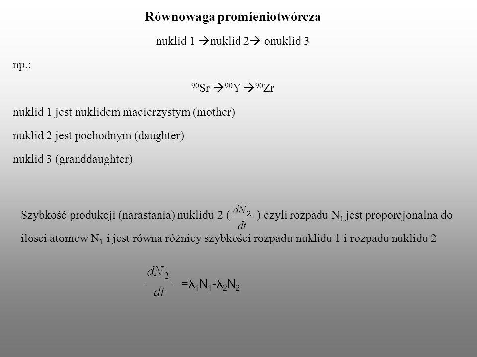 Równowaga promieniotwórcza nuklid 1 nuklid 2 onuklid 3 np.: 90 Sr 90 Y 90 Zr nuklid 1 jest nuklidem macierzystym (mother) nuklid 2 jest pochodnym (dau
