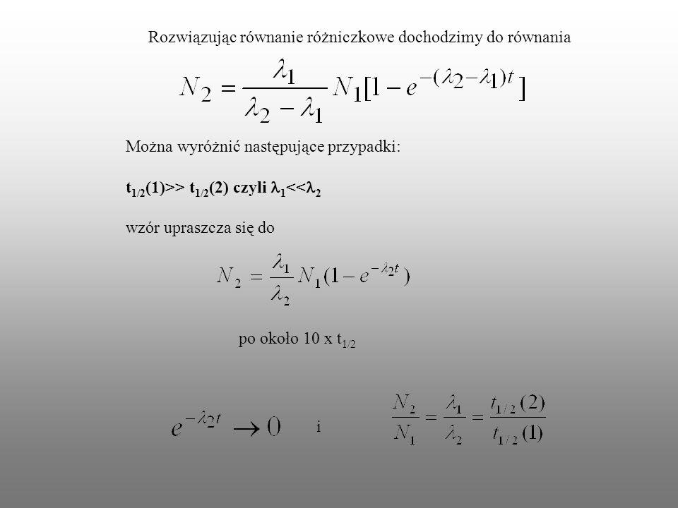 Rozwiązując równanie różniczkowe dochodzimy do równania Można wyróżnić następujące przypadki: t 1/2 (1)>> t 1/2 (2) czyli 1 << 2 wzór upraszcza się do