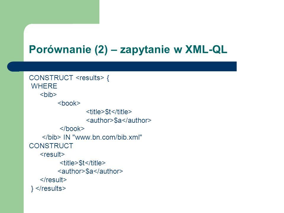 Porównanie (2) – zapytanie w XML-QL CONSTRUCT { WHERE $t $a IN