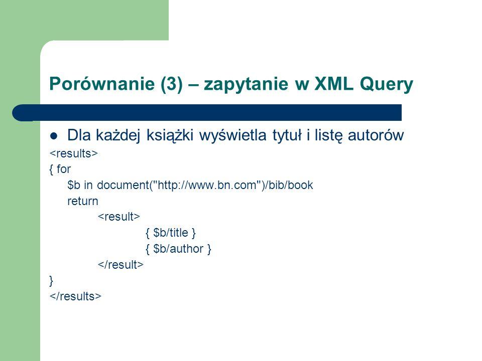 Porównanie (3) – zapytanie w XML Query Dla każdej książki wyświetla tytuł i listę autorów { for $b in document(