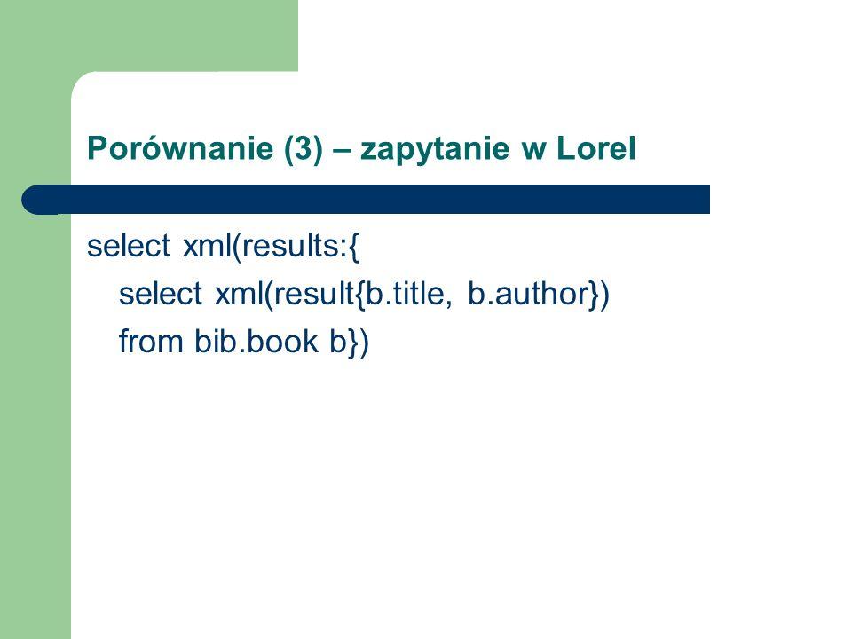 Porównanie (3) – zapytanie w Lorel select xml(results:{ select xml(result{b.title, b.author}) from bib.book b})