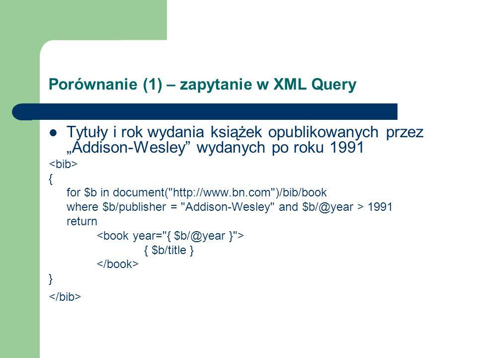 Porównanie (1) – zapytanie w YATL make bib [ *book [ @year [ $y ], title [ $t ] ] ] match www.bn.com/bib.xml with bib [ *book [ @year [ $y ], title [ $t ] ], publisher [ name [ $n ] ] ] where $n = Addison-Wesley and $y > 1991
