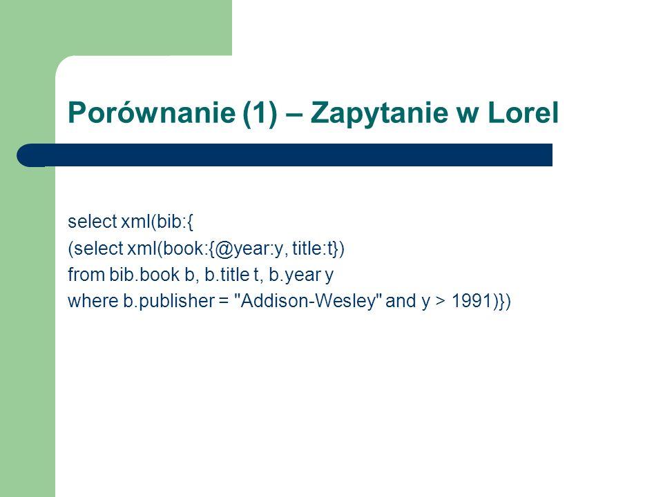Porównanie (1) – Zapytanie w Lorel select xml(bib:{ (select xml(book:{@year:y, title:t}) from bib.book b, b.title t, b.year y where b.publisher =