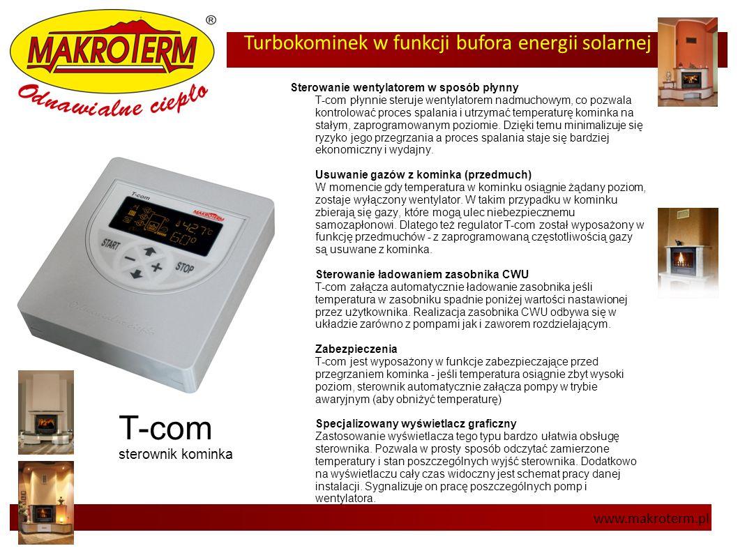 Turbokominek w funkcji bufora energii solarnej www.makroterm.pl T-com sterownik kominka Sterowanie wentylatorem w sposób płynny T-com płynnie steruje