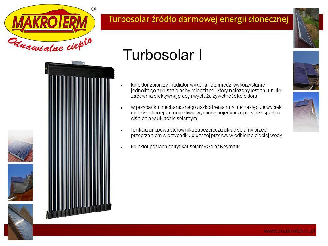 Turbosolar źródło darmowej energii słonecznej www.makroterm.pl Turbosolar I kolektor zbiorczy i radiator wykonane z miedzi wykorzystanie jednolitego a