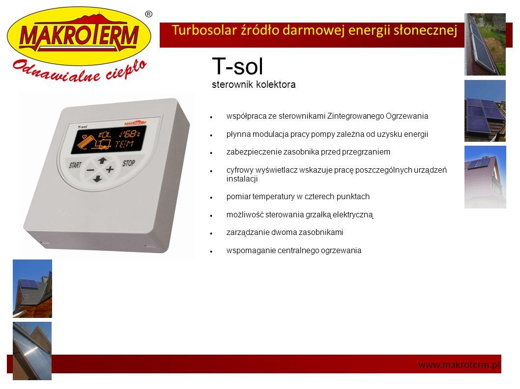 Turbosolar źródło darmowej energii słonecznej www.makroterm.pl T-sol sterownik kolektora współpraca ze sterownikami Zintegrowanego Ogrzewania płynna m