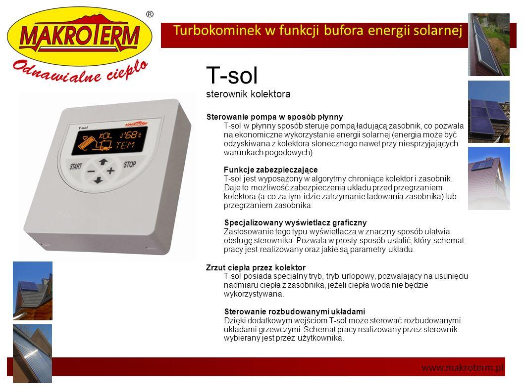 Turbokominek w funkcji bufora energii solarnej www.makroterm.pl T-sol sterownik kolektora Sterowanie pompa w sposób płynny T-sol w płynny sposób steru