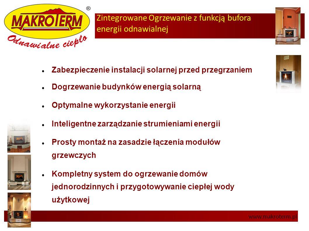 Zintegrowane Ogrzewanie z funkcją bufora energii odnawialnej www.makroterm.pl Zabezpieczenie instalacji solarnej przed przegrzaniem Dogrzewanie budynk