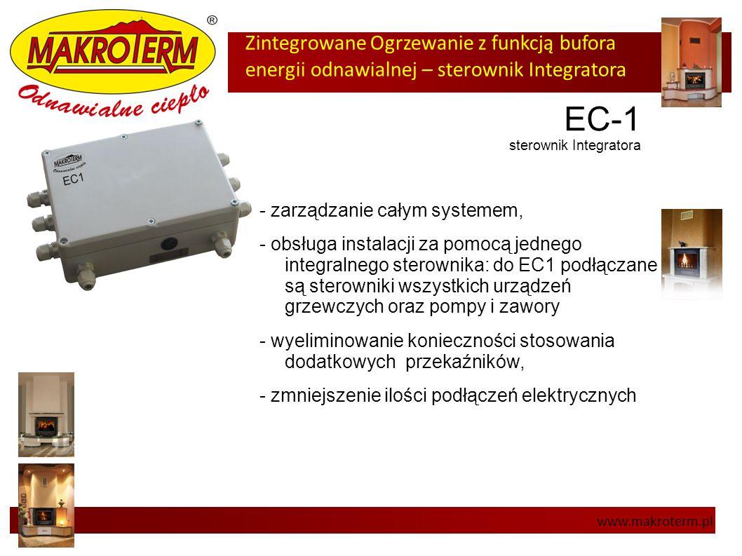Zintegrowane Ogrzewanie z funkcją bufora energii odnawialnej – sterownik Integratora www.makroterm.pl EC-1 sterownik Integratora - zarządzanie całym s