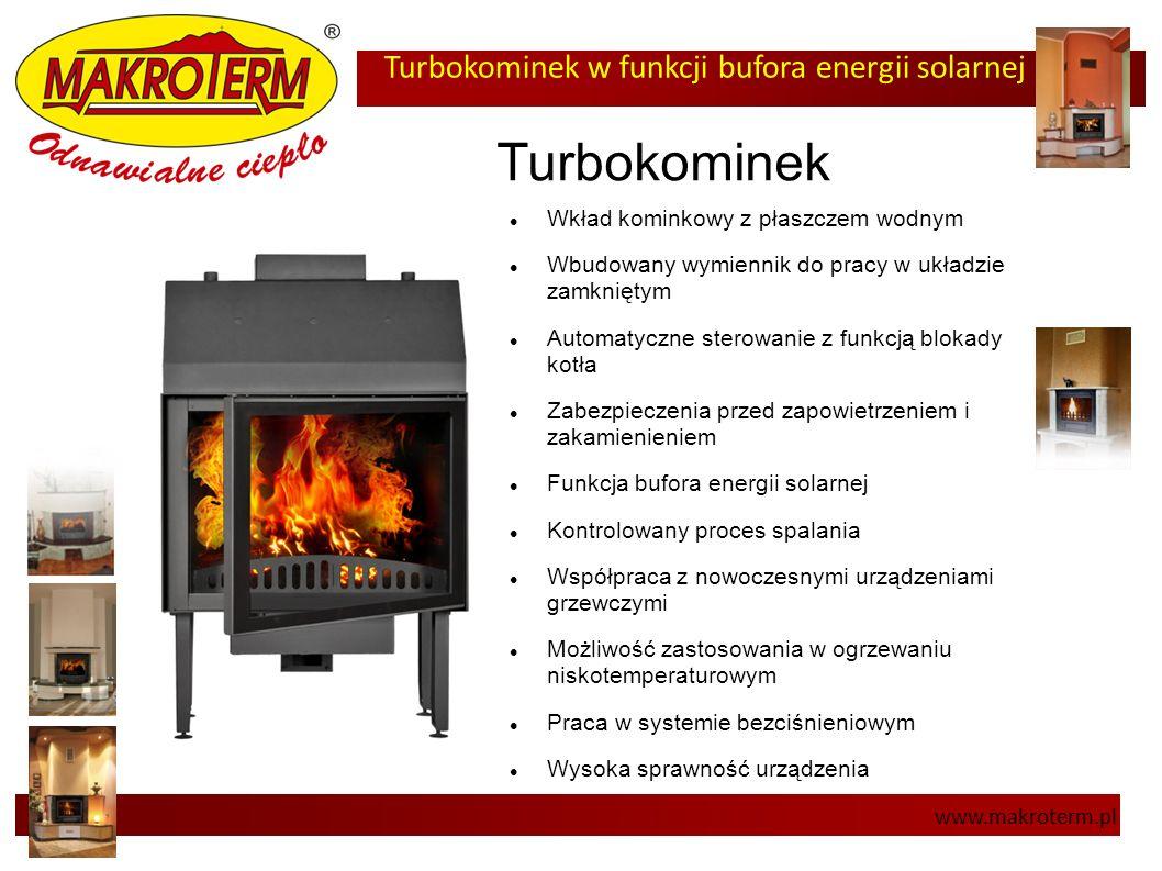 Turbokominek w funkcji bufora energii solarnej www.makroterm.pl Turbokominek Wkład kominkowy z płaszczem wodnym Wbudowany wymiennik do pracy w układzi