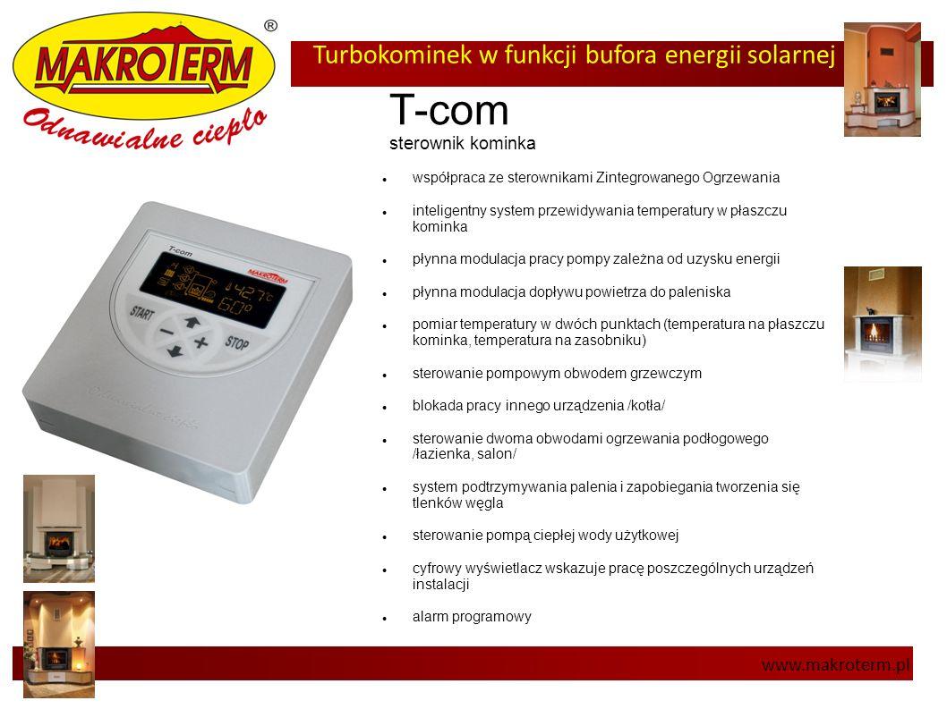 Turbokominek w funkcji bufora energii solarnej www.makroterm.pl T-com sterownik kominka współpraca ze sterownikami Zintegrowanego Ogrzewania inteligen