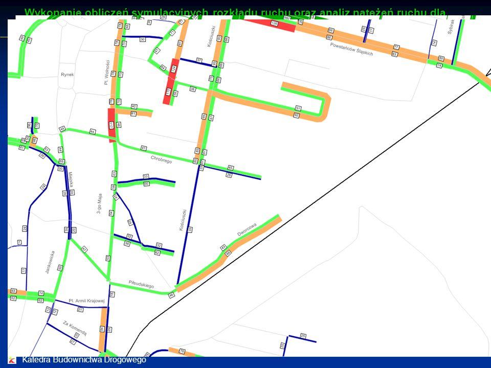 Katedra Budownictwa Drogowego Analizy symulacyjne ruchu drogowego Analizy symulacyjne ruchu drogowego wykonano dla godziny szczytu popołudniowego Wyko