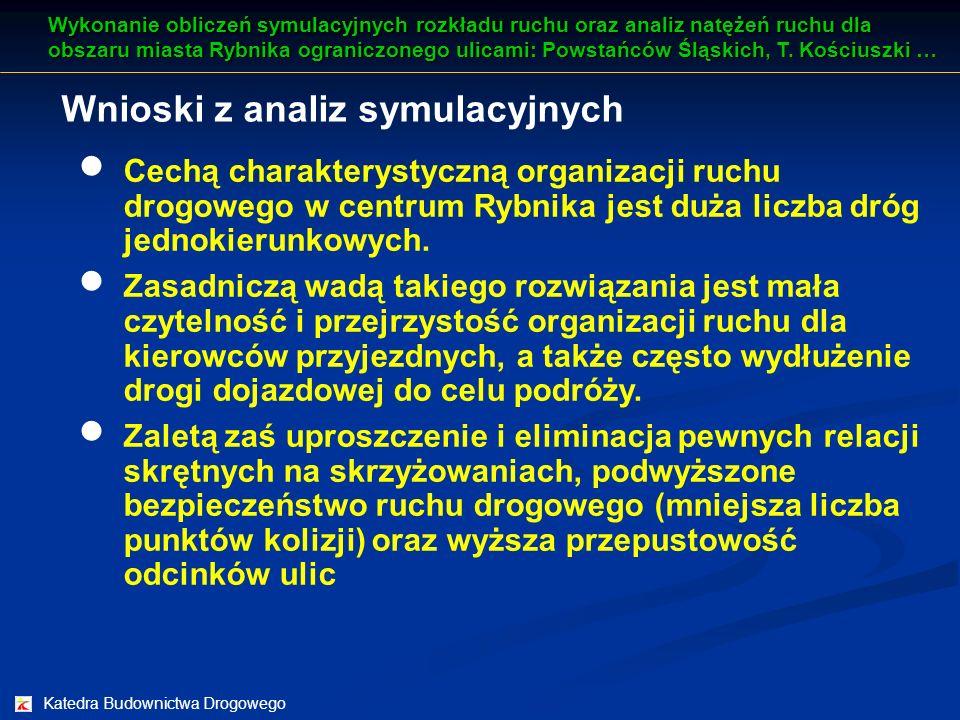 Katedra Budownictwa Drogowego Wnioski z analiz symulacyjnych Cechą charakterystyczną organizacji ruchu drogowego w centrum Rybnika jest duża liczba dr