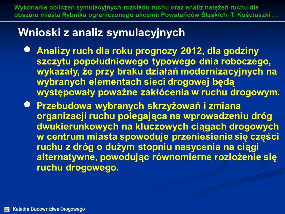 Katedra Budownictwa Drogowego Wnioski z analiz symulacyjnych Analizy ruch dla roku prognozy 2012, dla godziny szczytu popołudniowego typowego dnia rob