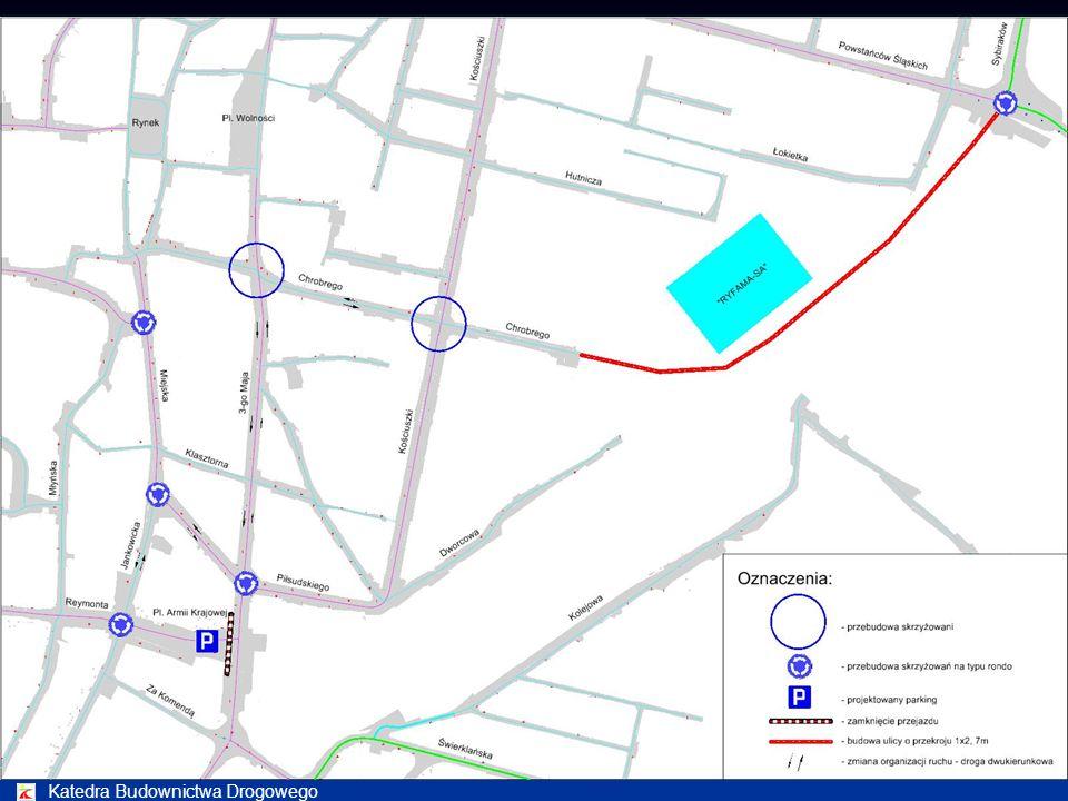 Katedra Budownictwa Drogowego Wykonanie obliczeń symulacyjnych rozkładu ruchu oraz analiz natężeń ruchu dla obszaru miasta Rybnika ograniczonego ulica