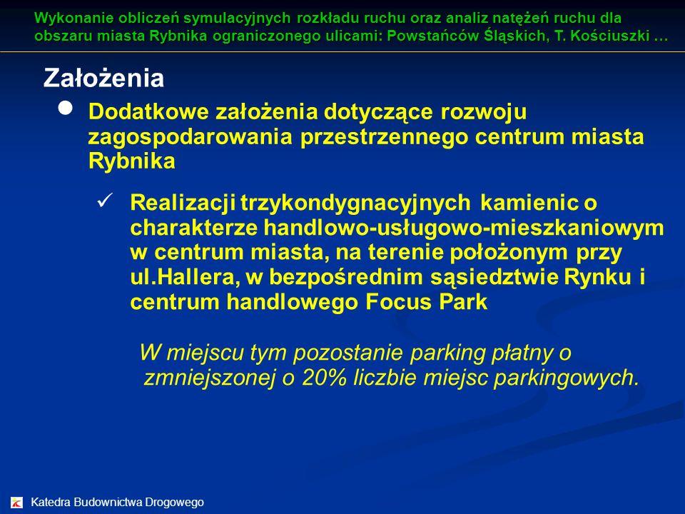 Katedra Budownictwa Drogowego Założenia Wykonanie obliczeń symulacyjnych rozkładu ruchu oraz analiz natężeń ruchu dla obszaru miasta Rybnika ograniczo