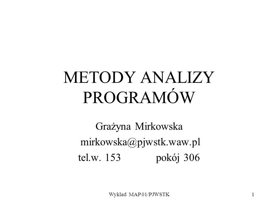 Wyklad MAP 01/PJWSTK1 METODY ANALIZY PROGRAMÓW Grażyna Mirkowska mirkowska@pjwstk.waw.pl tel.w. 153 pokój 306