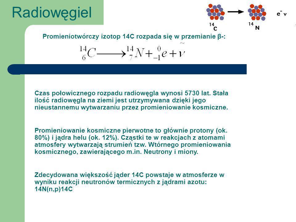 Produkcja Radiowęgla Szybkość produkcji radiowęgla w atmosferze jest funkcją strumienia pierwotnego promieniowania kosmicznego.