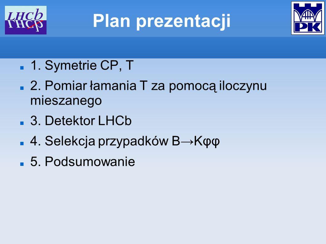 Plan prezentacji 1. Symetrie CP, T 2. Pomiar łamania T za pomocą iloczynu mieszanego 3. Detektor LHCb 4. Selekcja przypadków BKφφ 5. Podsumowanie