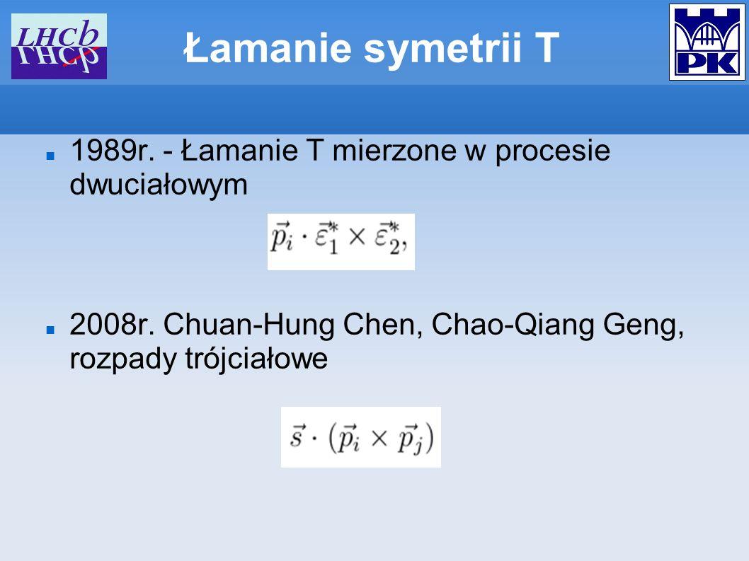 Łamanie symetrii T 1989r. - Łamanie T mierzone w procesie dwuciałowym 2008r. Chuan-Hung Chen, Chao-Qiang Geng, rozpady trójciałowe
