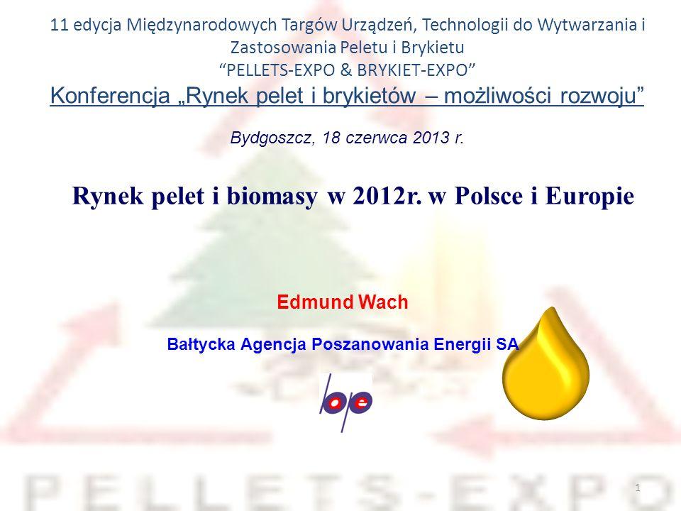 12 Obrót peletami drzewnymi na świecie w latach 2010-2012 B AŁTYCKA A GENCJA P OSZANOWANIA E NERGII S.A.