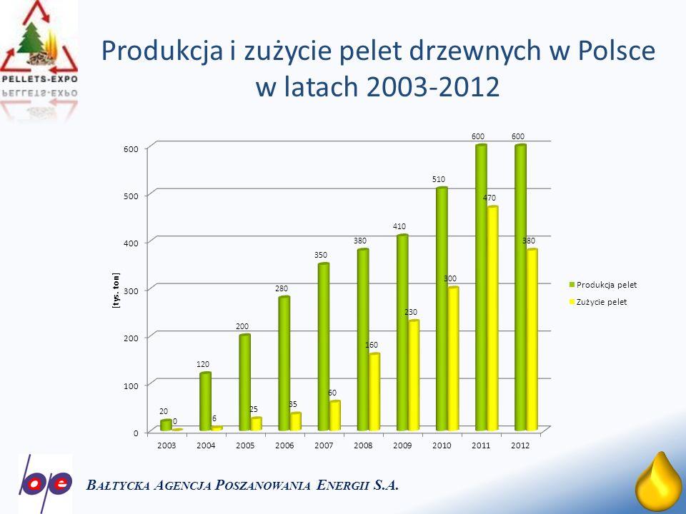 10 Zużycie pelet drzewnych w Europie w latach 2002-2012 B AŁTYCKA A GENCJA P OSZANOWANIA E NERGII S.A.