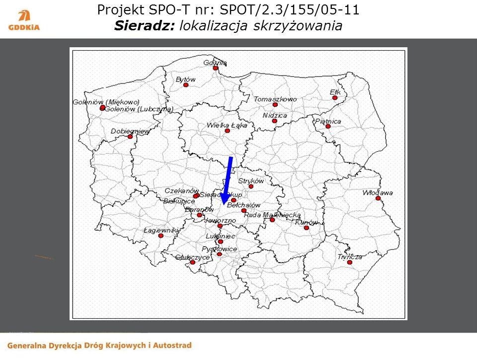 Projekt SPO-T nr: SPOT/2.3/155/05-11 Sieradz: lokalizacja skrzyżowania