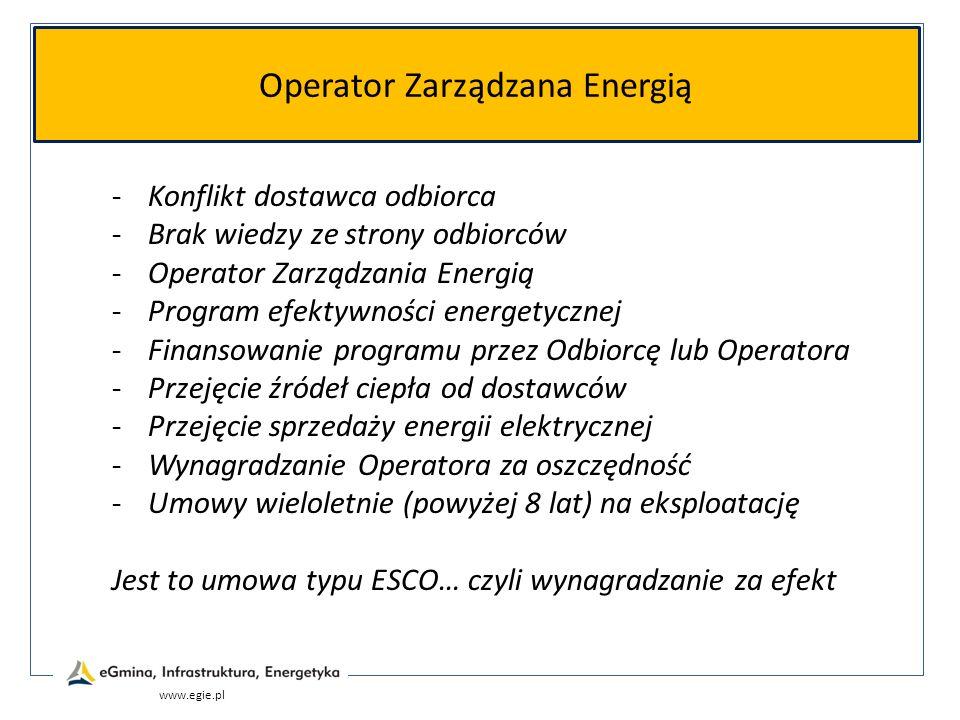 Operator Zarządzana Energią www.egie.pl -Konflikt dostawca odbiorca -Brak wiedzy ze strony odbiorców -Operator Zarządzania Energią -Program efektywnoś