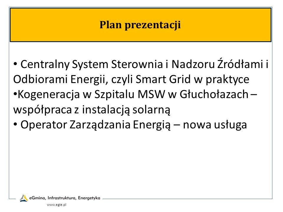 www.egie.pl Plan prezentacji Centralny System Sterownia i Nadzoru Źródłami i Odbiorami Energii, czyli Smart Grid w praktyce Kogeneracja w Szpitalu MSW