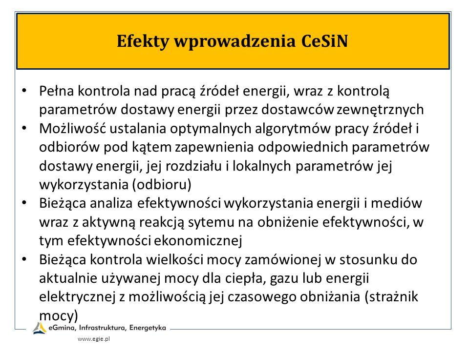 www.egie.pl Efekty wprowadzenia CeSiN Pełna kontrola nad pracą źródeł energii, wraz z kontrolą parametrów dostawy energii przez dostawców zewnętrznych