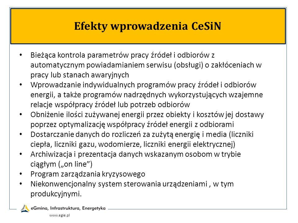 www.egie.pl Efekty wprowadzenia CeSiN Bieżąca kontrola parametrów pracy źródeł i odbiorów z automatycznym powiadamianiem serwisu (obsługi) o zakłóceni
