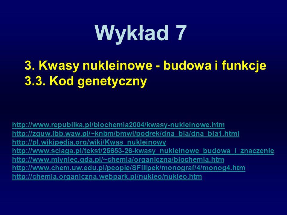 Wykład 7 3. Kwasy nukleinowe - budowa i funkcje 3.3. Kod genetyczny http://www.republika.pl/biochemia2004/kwasy-nukleinowe.htm http://zguw.ibb.waw.pl/