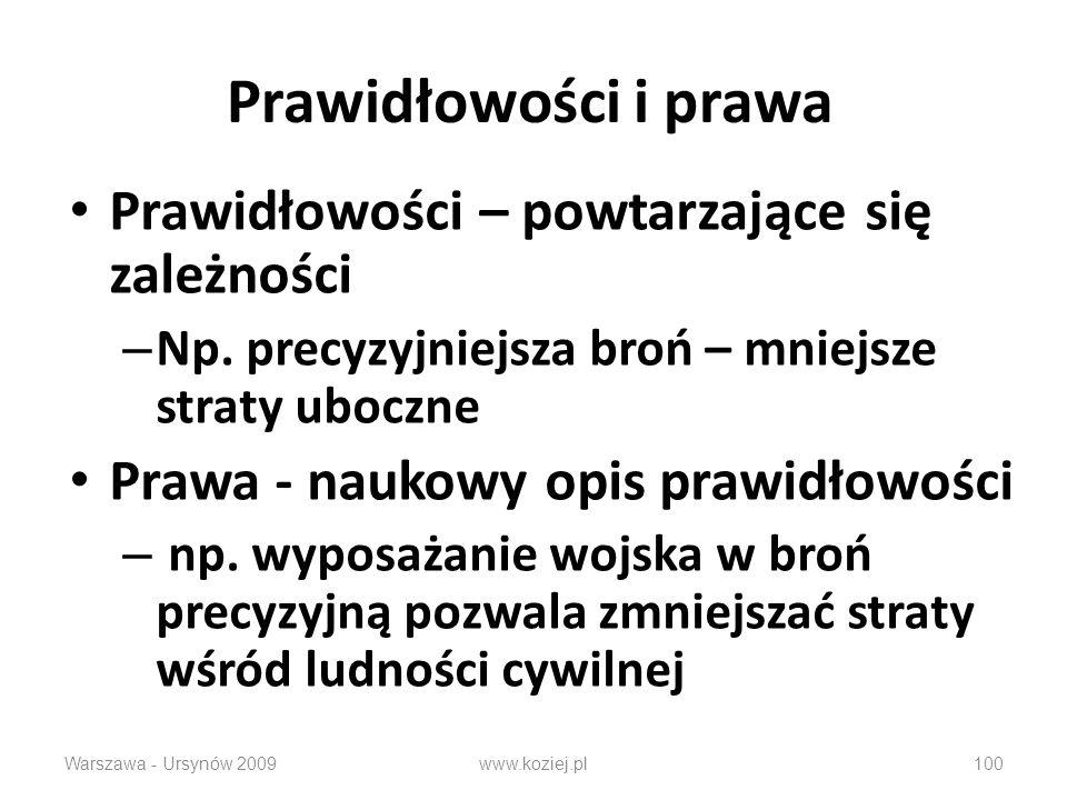 Warszawa - Ursynów 2009100 Prawidłowości i prawa Prawidłowości – powtarzające się zależności – Np. precyzyjniejsza broń – mniejsze straty uboczne Praw