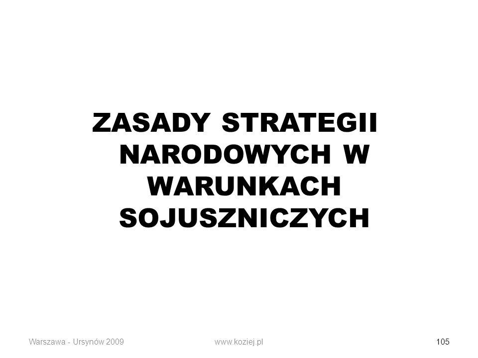 Warszawa - Ursynów 2009www.koziej.pl 105 ZASADY STRATEGII NARODOWYCH W WARUNKACH SOJUSZNICZYCH