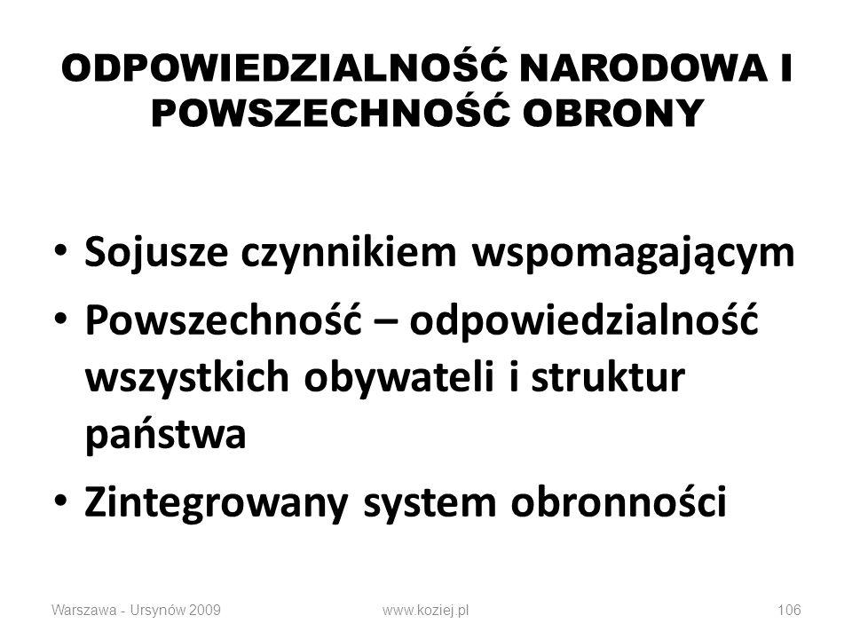 106 ODPOWIEDZIALNOŚĆ NARODOWA I POWSZECHNOŚĆ OBRONY Sojusze czynnikiem wspomagającym Powszechność – odpowiedzialność wszystkich obywateli i struktur państwa Zintegrowany system obronności Warszawa - Ursynów 2009www.koziej.pl