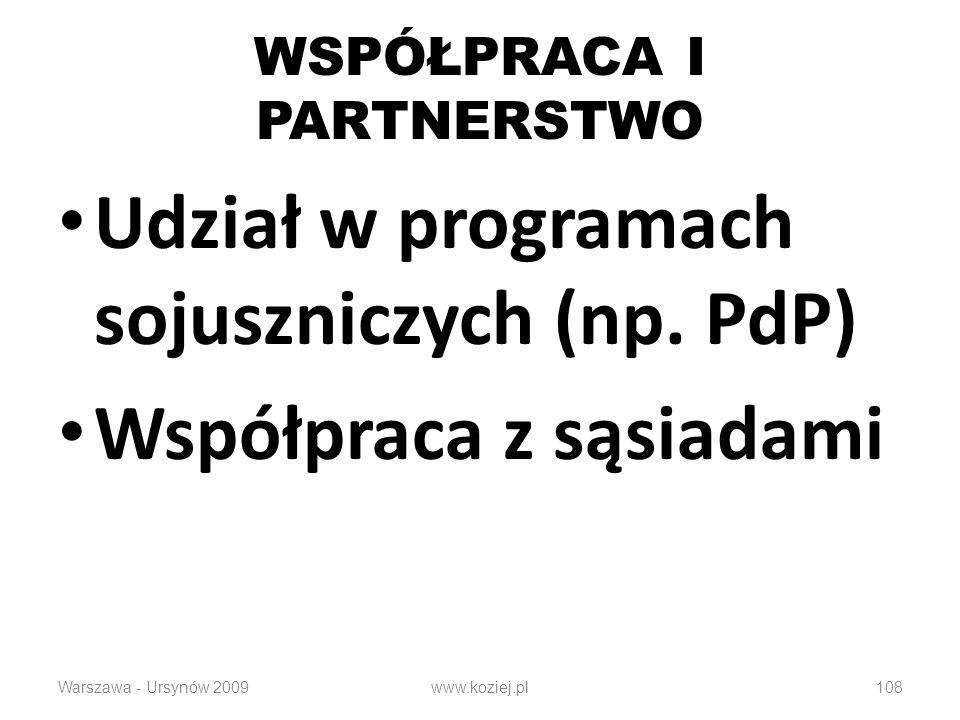 108 WSPÓŁPRACA I PARTNERSTWO Udział w programach sojuszniczych (np. PdP) Współpraca z sąsiadami Warszawa - Ursynów 2009www.koziej.pl