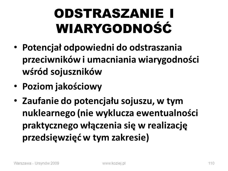 110 ODSTRASZANIE I WIARYGODNOŚĆ Potencjał odpowiedni do odstraszania przeciwników i umacniania wiarygodności wśród sojuszników Poziom jakościowy Zaufanie do potencjału sojuszu, w tym nuklearnego (nie wyklucza ewentualności praktycznego włączenia się w realizację przedsięwzięć w tym zakresie) Warszawa - Ursynów 2009www.koziej.pl