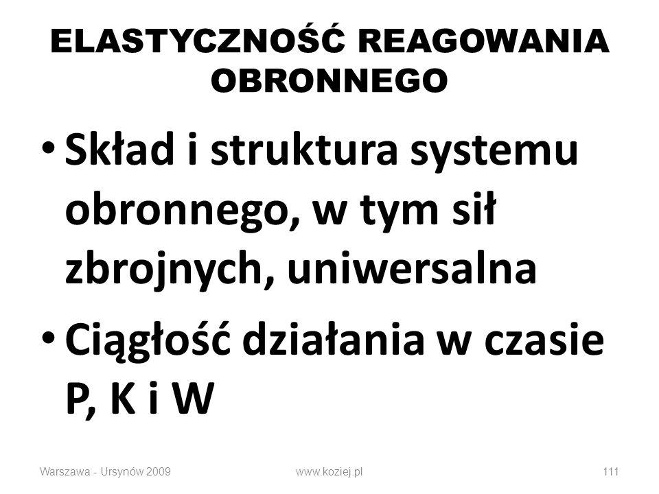 111 ELASTYCZNOŚĆ REAGOWANIA OBRONNEGO Skład i struktura systemu obronnego, w tym sił zbrojnych, uniwersalna Ciągłość działania w czasie P, K i W Warszawa - Ursynów 2009www.koziej.pl