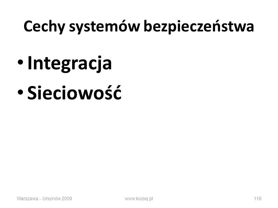 Cechy systemów bezpieczeństwa Integracja Sieciowość Warszawa - Ursynów 2009www.koziej.pl116