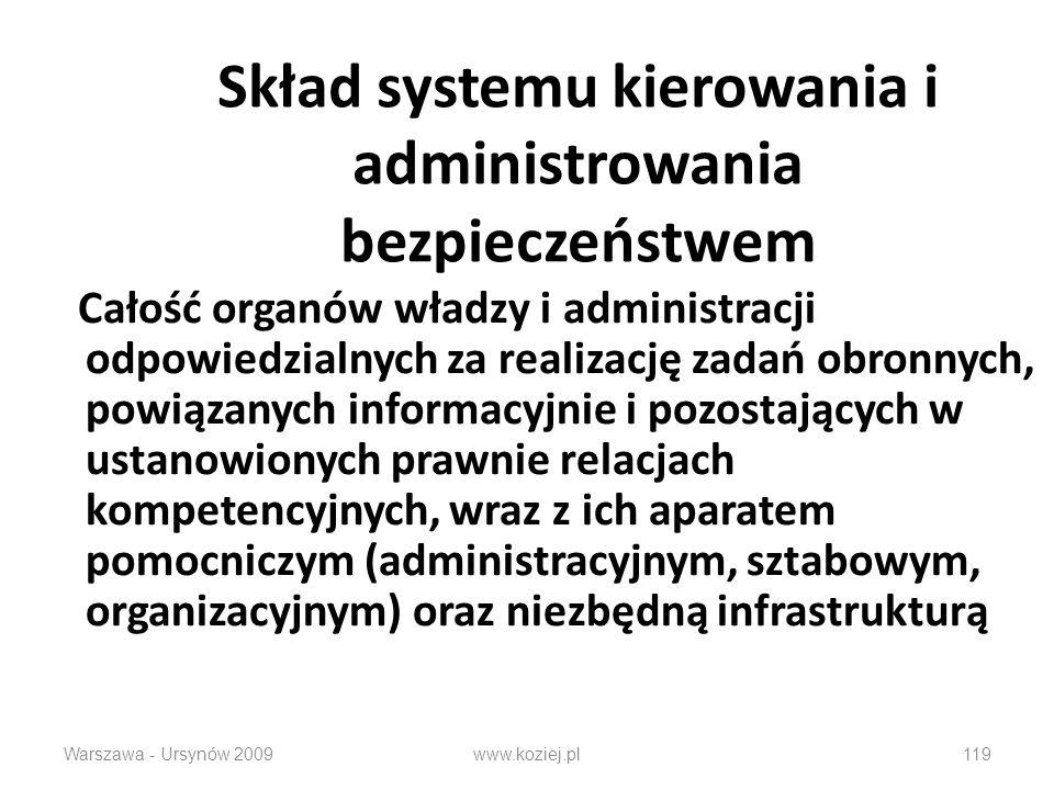 Warszawa - Ursynów 2009www.koziej.pl119 Skład systemu kierowania i administrowania bezpieczeństwem Całość organów władzy i administracji odpowiedzialnych za realizację zadań obronnych, powiązanych informacyjnie i pozostających w ustanowionych prawnie relacjach kompetencyjnych, wraz z ich aparatem pomocniczym (administracyjnym, sztabowym, organizacyjnym) oraz niezbędną infrastrukturą